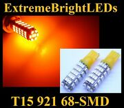 Two Amber T10 168 2825 68-smd Led Parking Lights 34b