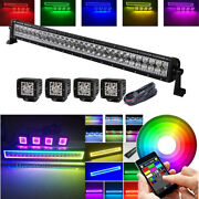32inch Led Light Bar + 4x 3 Halo Pods With Rgb Halo Ring Chasing Bluetooth App