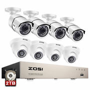 Zosi 8ch 1080p Outdoor Security Camera System 5mp Lite Cctv Dvr Kit 1/2tb Hdd