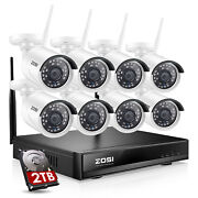 Zosi 1080p Wireless Security Camera System Outdoor 8ch H.265+ Cctv Wifi Nvr Kit