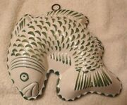 Ceramiche ABC Bassano Green & White Fish Sculpture Ceramic Wall Art Italy