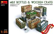 Milk Bottles And Wooden Crates, Sets For Dioramas, Plastic Kit 1/35 Miniart 35573