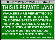 Private Land - Walkers Are Permitted Custom Made Metal Sign / Warning Notice