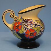 VINTAGE HAND PAINTED SLIP DECORATED CZECH PITCHER ART POTTERY DITMAR URBACH