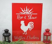 Metal Word Sign, Rise And Shine Mother Cluckers, Home Décor, Chicken Wall Art