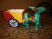 Vintage Hand painted Art Pottery Donkey Mule with cart planter Italy European