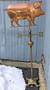 Brass Bronze Copper Pig Weather Vane Stand Alone Base Farm Barn Storm Used