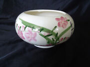 Handcrafted M.A. BENTZ  Pottery VASE Bowl - Flowers & Dragonflies - SIGNED
