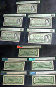 Lot Of 5 Devils Face 1 Bank Of Canada 1954 Pmg 65 / 66 Five Consecutive Scarce