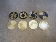 Vintage Studio Art Pottery Leaf Leaves Plates Set Of 8 Dated On Back