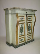Antique 19th Century Italian Cabinet With Painted Finish And Marble Top