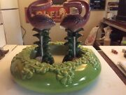 VINTAGE ROYAL HAEGER GREEN GLAZE CERAMIC CENTERPIECE BOWL WITH FLAMINGOS