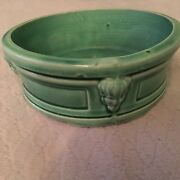 """Hull Early Art Stoneware Bowl Rare Solid Green Glaze 3""""T x 8""""D"""