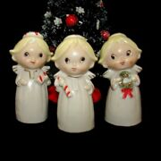 Vintage Christmas Angel Girl Bells Candycane Wreath Gift And Tree