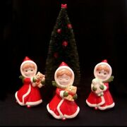 Vintage Napco Girls In Santa Dresses W Bear Kitty And Doll And Christmas Tree