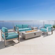 Cape Coral Outdoor 4 Seater Chat Set With Fire Pit Canvas Aruba Sunbrella