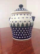 Polish Pottery Boleslawiec Cookie Jar Storage Canister with Handles