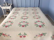 Antique Floral Applique Wreath Quilt 1930s With Gorgeous Feather Hand Quilting