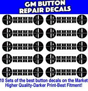 Gm Chevrolet Ac Climate Control Button Repair Decal Stickers 10 - Sets