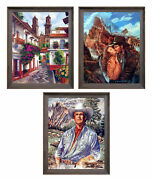 Old Mexico City Mexican Cowboy Western Couple Three Set 8x10 Framed Wall Decor
