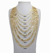 14k Italian Figaro Link Chain Necklace 3mm To 10mm Gold Plated 16 18 20 24 30