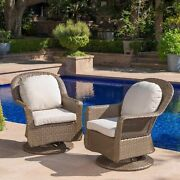 Linsten Outdoor Wicker Swivel Club Chairs With Water Resistant Cushions