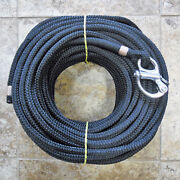 1/2 X 165 Ft Black On Black Dac/polyester Halyardspliced In Fixed Bail Shackle