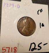 1924 D Lincoln Wheat Penny 5718