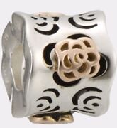 Kc-78 Authentic Chamilia Sterling Silver Bead And 14k Layered Flowers