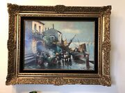 Oil Painting 19th Century Italian Village By The Water Perfection Condition