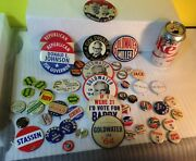 48 Presidential Goldwater, Reagan Political Campaign Button Pins