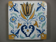 Antique Dutch Polychrome Flower Tile Tulip With Heart 17th - Free Shipping