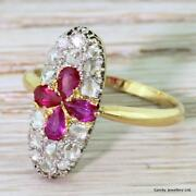 Edwardian 0.57ct Pear Cut Ruby And Rose Cut Diamond Ring - 18k And Platinum - C 1910