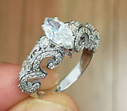 14k White Gold Marquise And Round Cut Diamond Deco Engagement Ring Bridal 1.30ct