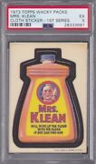 1973 Topps Wacky Packages Cloth Stickers Mrs. Klean Psa 5 Ex Series 1 Packs