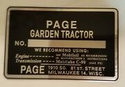 Page Garden Tractor Id Plate-brand New / Vintage Antique Lawn Red-e Pioneer Tag