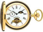 Skeleton Pocket Watch Gold Plated Half Hunter With Moon Phases 17 Jewel Box