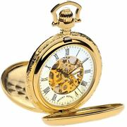 Skeleton Pocket Watch Gold Plated Very Detailed Double Half Hunter 17 Jewel