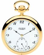 Gold Plated Pocket Watch Open Faced With 17 Jewel Movement Albert Chain Gift