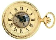 Pocket Watch Gold Plated Ornate Half Hunter With 17 Jewel Movement Gift