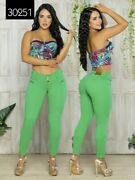 Colombian Mid Rise Green Jeans Skinny Butt Lifter Levanta Cola Slimming Stretch