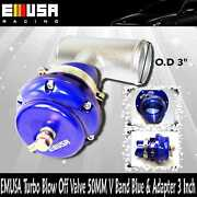 Emusa Turbo Universal Blow Off Valve 50mm V Band Blue And 3 Piping Bov Adapter
