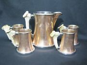 Early 20th Century Copper And Silverplate Pticher And Mug Set With Stag Handles