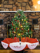 4.5and039 Snowing Christmas Tree Red Base Comes With Led Lights And Decorations