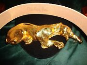 Haute Couture Christopher Ross 24kt Gold Plate Crouching Panther Belt Buckle '85