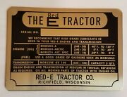Red E Garden Tractor Brass Id Plate - Brand New / Vintage Antique Page Tag Lawn