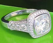 14k White Gold Cushion Forever One Moissanite And Diamond Engagement Ring 4.00ct