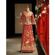 """Chinese Traditional Wedding Dress """"kua"""" With Headgear And Earrings"""