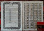 Colombia British Loan 6 Bond 100andpound London 1824 /1845 Uncancelled + Cupon Sheet