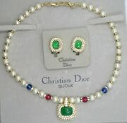 Vintage Grosse Germany Christian Dior Faux Emerald Gemstone Necklace And Earrings
